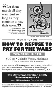 War Tax Resistance Workshop