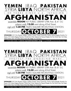 2-up call to action flyer for Oct. 7, 2021, Afghanistan demonstration
